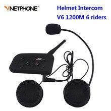 Vnetphone V6 BT האינטרפון 1200M Moto rcycle Bluetooth קסדת אינטרקום intercomunicador moto interfones אוזניות עבור 6 רוכבים