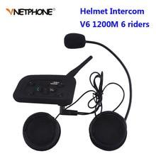 Vnetphone V6 BT Interphone 1200M Moto rcycle kask Bluetooth z interkomem intercomunicador moto interfones zestaw słuchawkowy dla 6 zawodników