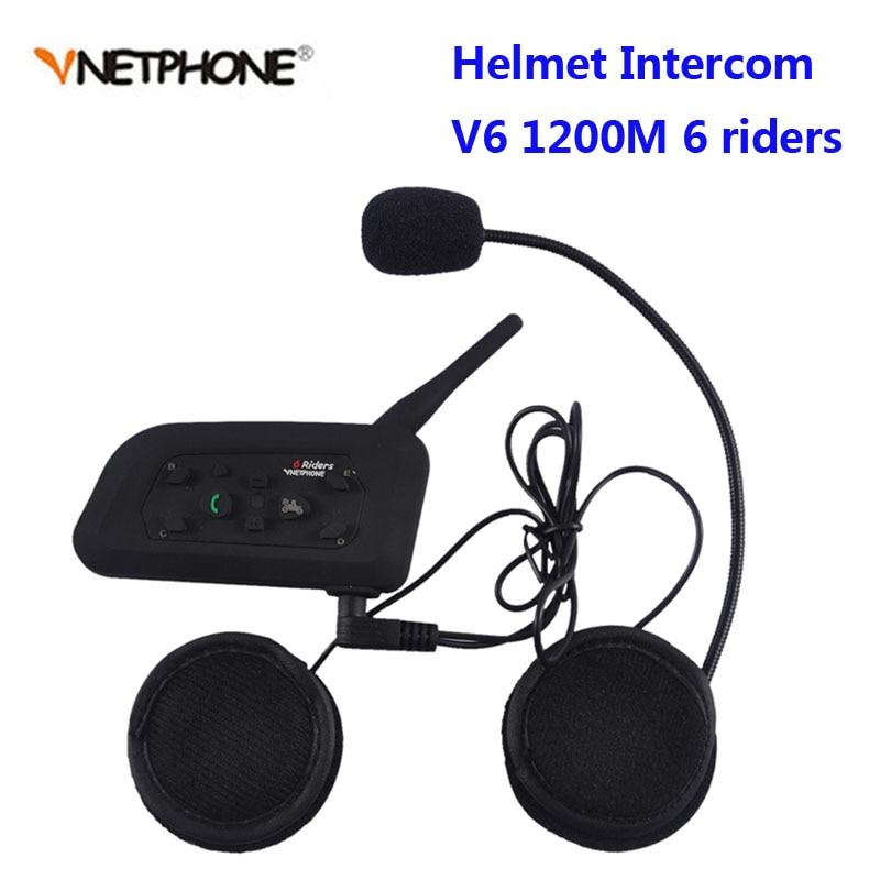 Vnetphone V6  BT Interphone 1200M Motorcycle Bluetooth Helmet Intercom Intercomunicador Moto Interfones Headset For 6 Riders