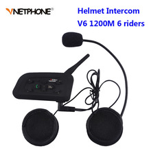 Vnetphone V6 BT Interphone 1200 M Moto Bluetooth Citofono del Casco intercomunicador moto interfones auricolare per 6 Piloti