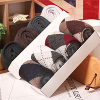 4 Pair Plaid Cotton And Wool Men Socks Casual Style Long Men Winter And Autumn Cotton