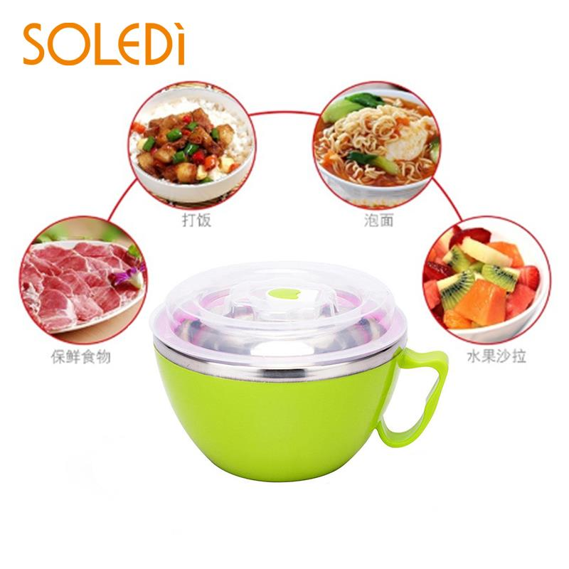 Practical Multipurpose Lunch Box Instant Noodle Stainless Steel Bowl Kitchenware