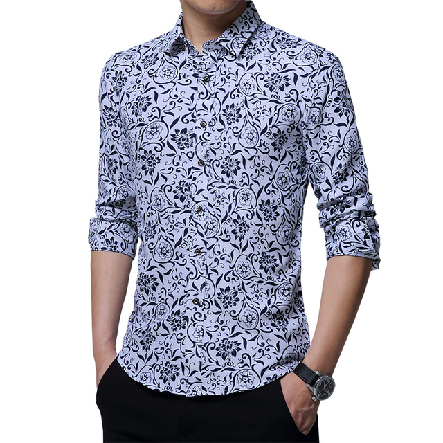 cbdd421fd40b9b 2019 Spring Men's shirt Floral printing long sleeve shirts men clothes flowers  printed shirts vintage Linen