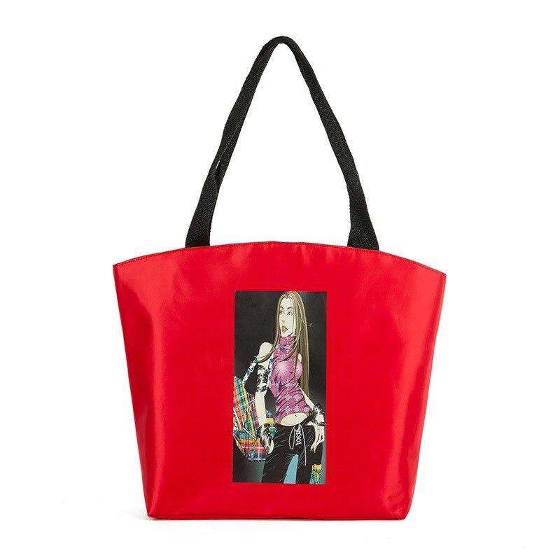 New Women Hobos Red Charatcer Girl Print Shoulder Bag Nylon Top Handle Bags Ladies Large Capacity Single Tote Shopping Handbag