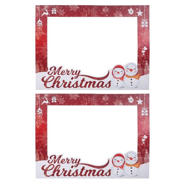 2pcs Christmas Picture Frames Props Selfie Photo Shoot Frames Xmas ...