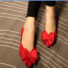 2015 women's shoes spring and autumn single shoes shallow mouth sweet bow pointed toe flat wedding shoes flat heel four seasons