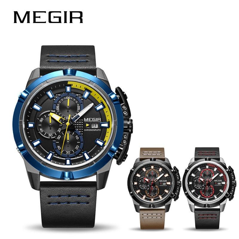MEGIR 2062 marque de luxe montres de sport pour homme Quartz analogique militaire étanche montre-bracelet hommes en cuir relogio masculino hombre
