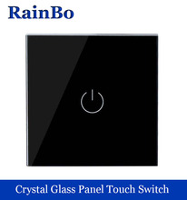 New Crystal Glass Panel Switch Wall Switch EU Touch Switch Screen Wall Light Switch 1gang1way 110~250V   LED lamp black rainbo