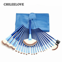 CHILEELOVE 24 Pcs Black Blue Pink Professional Makeup Brushes Kit Facial Blush Foundation Blending Powder Cosmetics Tool