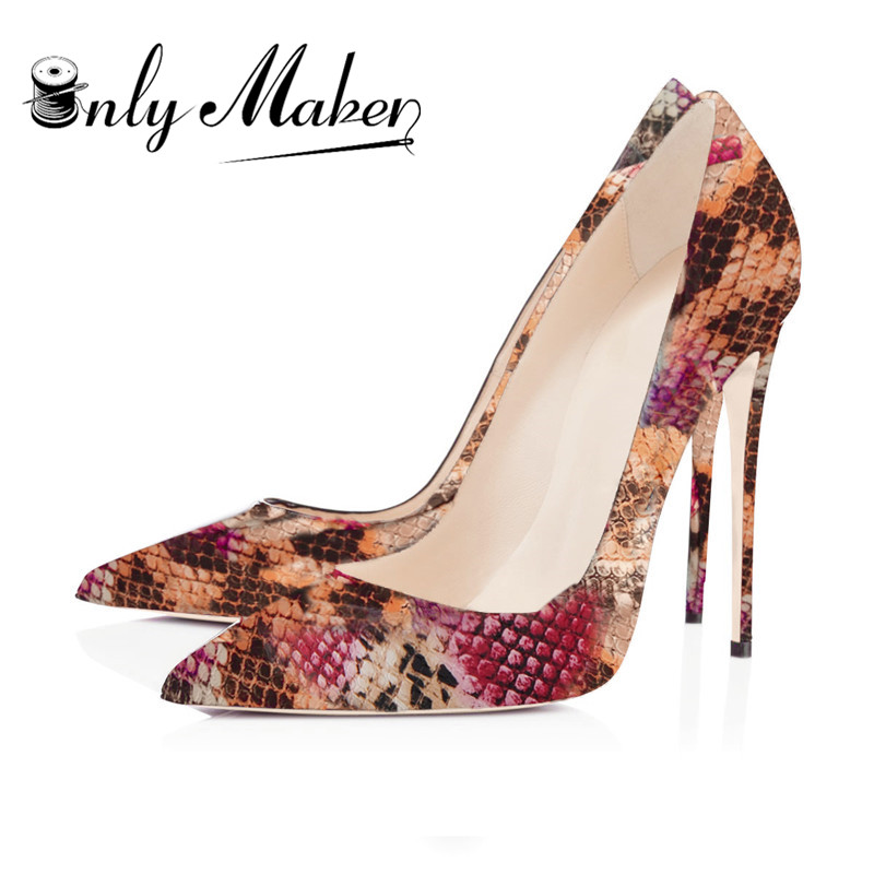 fbbe581abb9a Onlymaker Snake Printing Women thin High Heels Stiletto Shoes 12cm Sexy Pumps  Party shoes size EU46