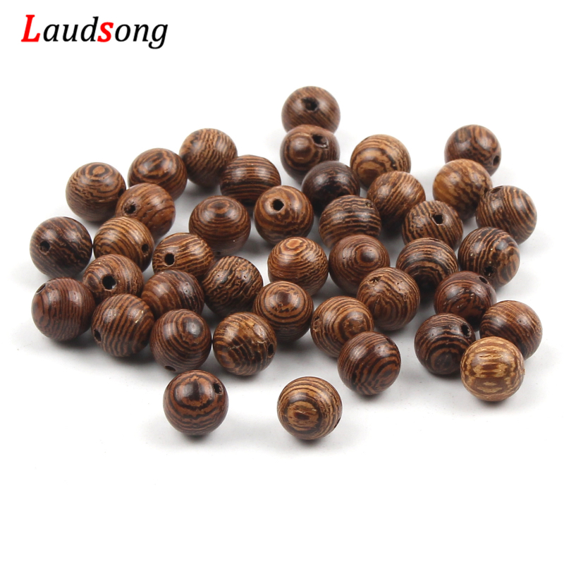 100pc 6/8mm Natural Brown Wenge Beads Round Spacer Stripe Wooden Beads For Jewelry Makings DIY Kids Jewelry Accessories