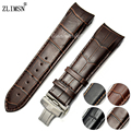24mm Genuine Leather Watchbands Dark Brown With Brown Stitched Watch Bands Straps Curved End For TIS-- Relojes Hombre 2017 T035