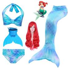 Girls Swimming Mermaid Tails Mermaid Wig Costume Cosplay Children Bathing Suit Kids Swimwear Swimsuit with/no Monofin Fin(China)