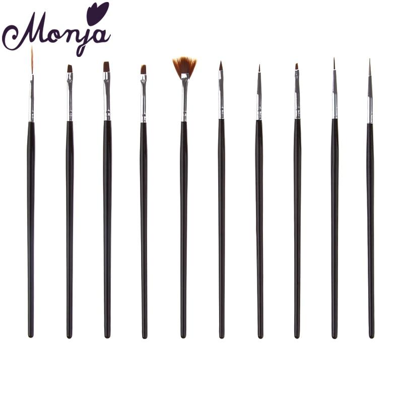 Monja 10Pcs/set Nail Art Stripes Lines Liner Painting Brush Liquid Powder Acrylic UV GEL Extension Builder French Drawing Pen