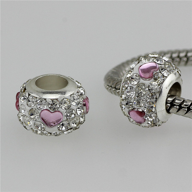 6 colors crystal Bead Charm heart-shaped Accessories   beads fit Pandora   Bracelets & Bangles DIY Jewelry