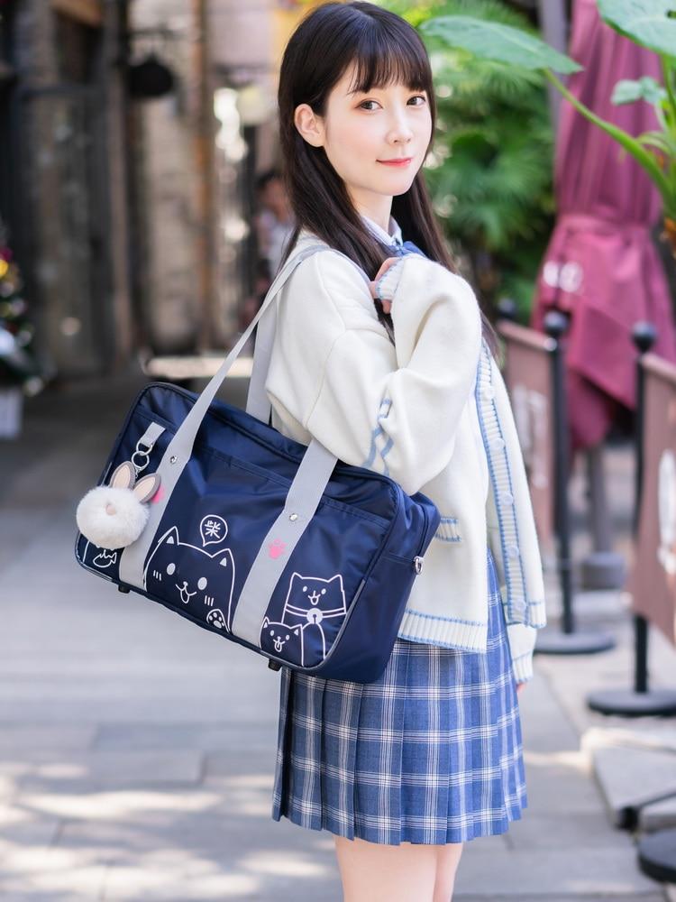 Japanese Jk Uniform Bag Anime Shoulder Bag School Bag Oxford Bookbag Women Handbag For Girl Designer