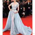 Luxury Gorgeous Mermaid Transparent Celebrity Dresses Full Sleeve Applique Evening Dress Light blue Carpet Dresses