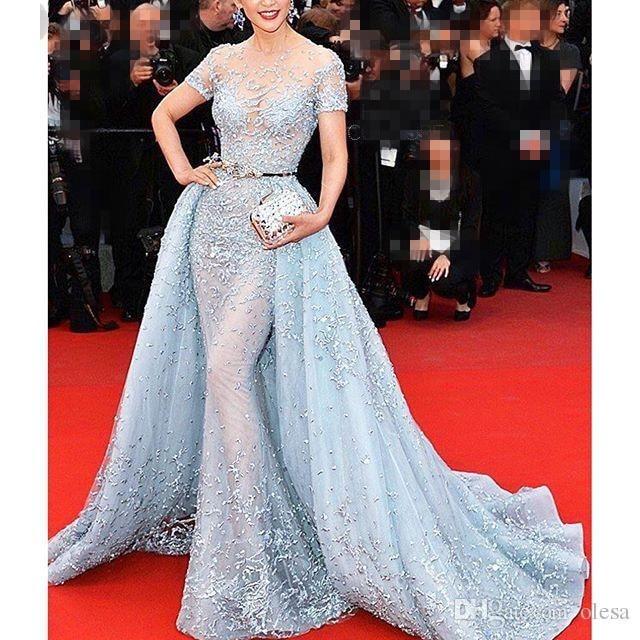 Luxury Gorgeous Mermaid Transparent Celebrity Dresses Full Sleeve Applique  Evening Dress Light blue Carpet Dresses e6a9dca126ab