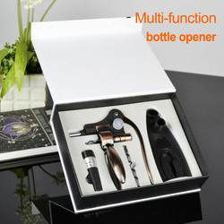 Hot Sale Party Red Wine Opener, tin foil cutter,vacuum wine stopper,base bracket,drill bit Multi-function portable bottle opener