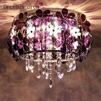 Modern simple flower crystal lamp romantic European style bedroom  ceiling lamp garden dining room lamp   originality lamp
