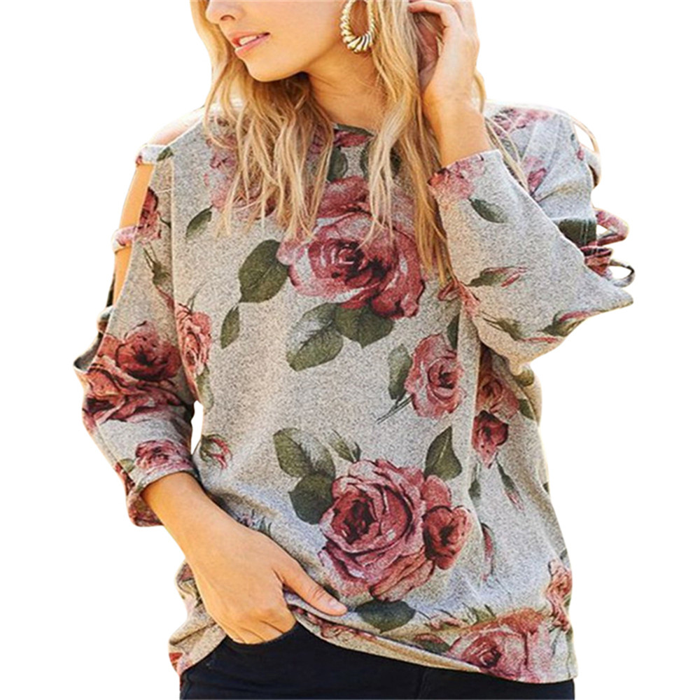 New 2018 Spring Women Floral Print Hollow Out T Shirt Long Sleeve O Neck Casual Cotton Tshirt Ladies Loose Pullover Tops T-shirt