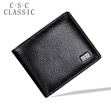 Black Mens Wallets Real Genuine Cowhide Leather Wallet Bifold Clutch Short Wallet Coin Purse Pouch ID Credit Card Holder