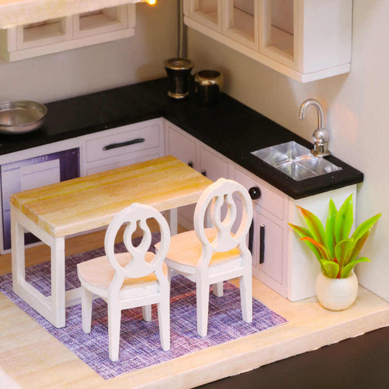 DIY Doll House Wooden Miniature Dollhouse Furniture Assemble Kits 3D Handmade Mini Dollhouse Toys for Children Birthday Gifts