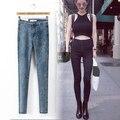 2016 Nova Moda Jeans Mulheres Calças Lápis Calça Jeans de Cintura Alta Sexy Slim Calças Skinny Elásticas Calças Jeans Fit Lady 4 cores