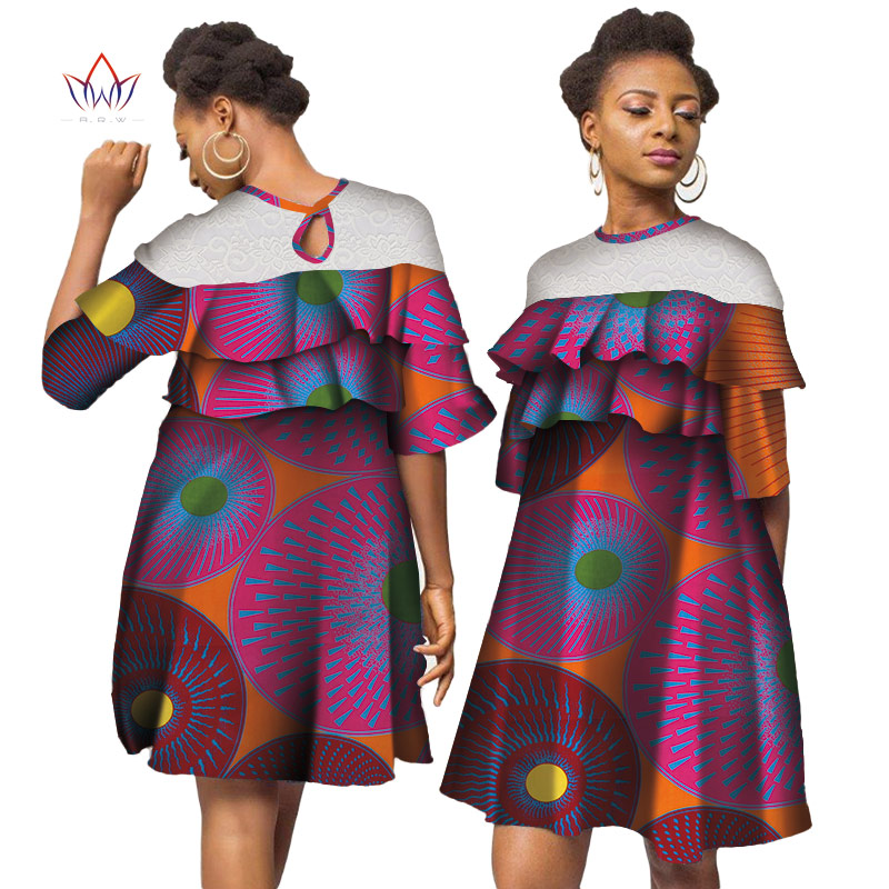2019 Africa Dresses For Women African Wax Print Dresses Dashiki Plus Size Africa Style Clothing for Women Office Dress WY3890
