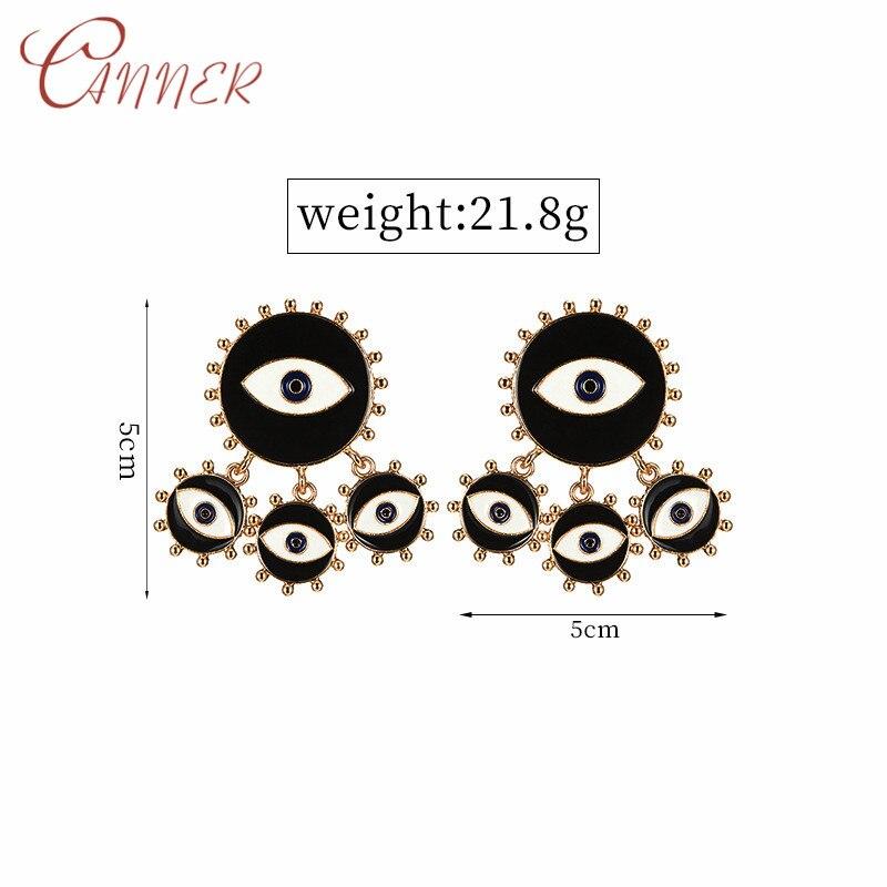 CANNER Fashion Statement Earrings for Women Dripping Oil Evil Eye Round Drop Dangle Earrings Geometric Fashion Jewelry Brincos in Drop Earrings from Jewelry Accessories