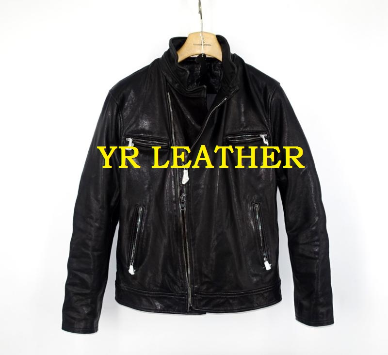 YR!Free shipping.Pakistan tanning sheepskin.Brand Luxury motor biker style leather jacket, fashion slim genuine leather coat,