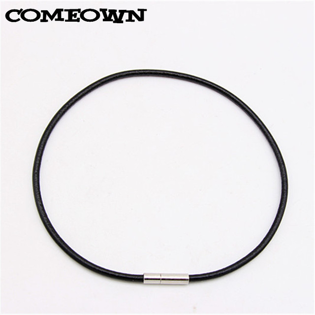 """COMEOWN 10pcs 3mm 12""""-30"""" Black Genuine Real Leather Necklace Cord/String Pendan"""