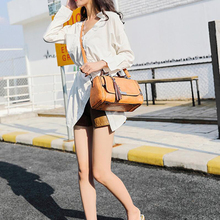 Women Leather Handbags Casual Tote bags Crossbody Bag TOP-handle bag With Tassel andCartoon hanging shoulder bag vintage solid