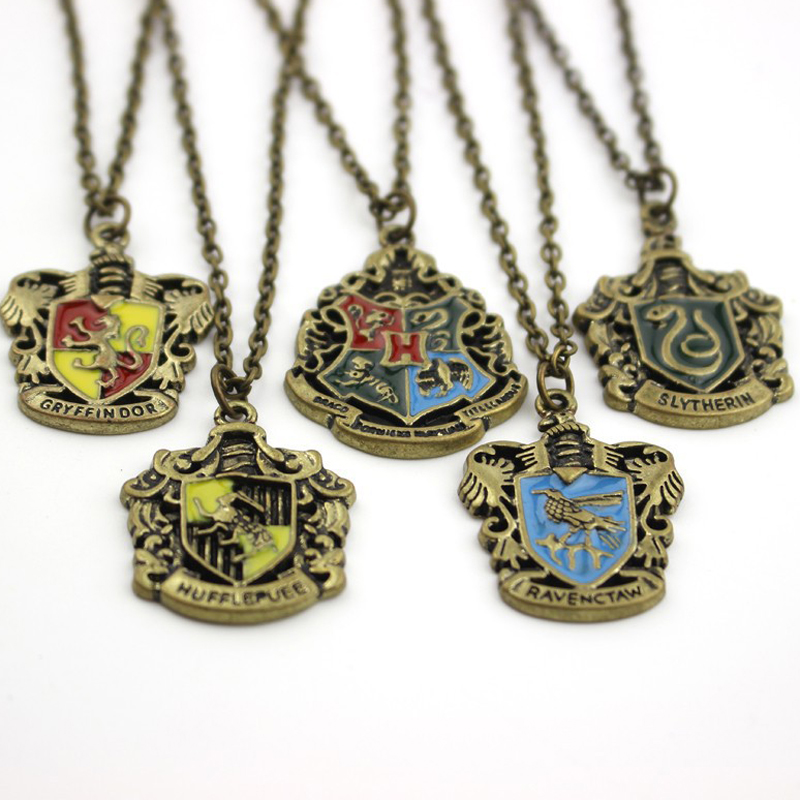 Movie Jewelry Hogwarts Gryffindor Hufflepuff Drop Shipping Slytherin Ravenclaw School Hot Sale Crest Necklace & Pendants Jewelry