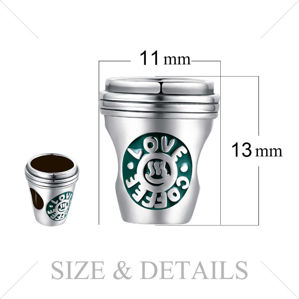 JewelryPalace فنجان قهوة 925 فضة خرز دلايات فضة 925 أصلي لسوار فضة 925 الأصلي صنع المجوهرات
