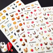 Newest CA-120 229 cute dogs design 3d nail sticker template decal back glue DIY decorations for art