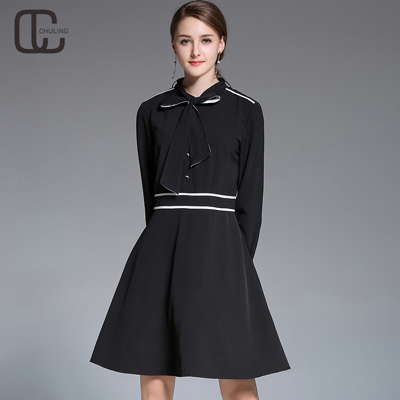 Women Thin Black Simple Long Sleeves Dresses Bow Casual Business