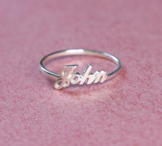 Nom personnalisé bague initiale 925 bague en argent bague de fiançailles anneau de mariage cadeau de noël personnalisé cadeau d'anniversaire fabriqué à la main