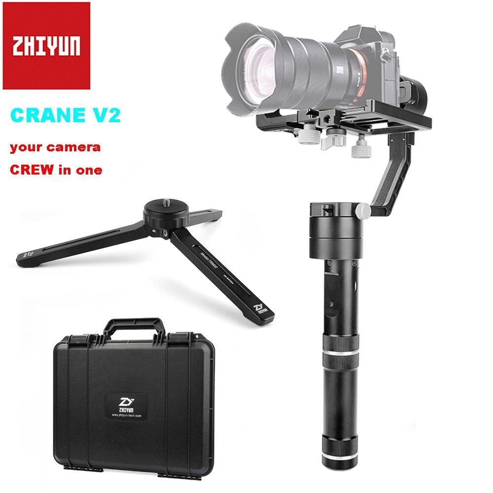 Zhiyun Grue V2 3-axe Brushless Poignée Cardan Stabilisateur pour Sony Caméra Charge 350g-1800g + table Trépied PK Zhiyun Grue M