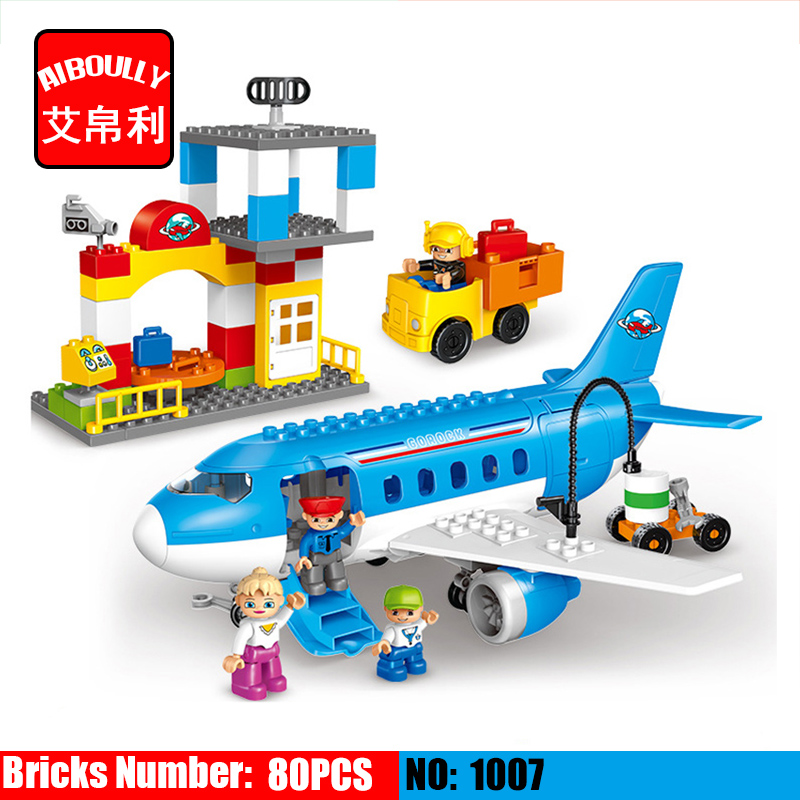 Large Airport Airbus Plane Figures Building Blocks City Set Compatible With duploe Enlighten DIY Bricks Toys For Kids GIRLS BOYS city airport vip private plane blocks bricks building technic christmas toys for children compatible with legoeinglys lepin 8911