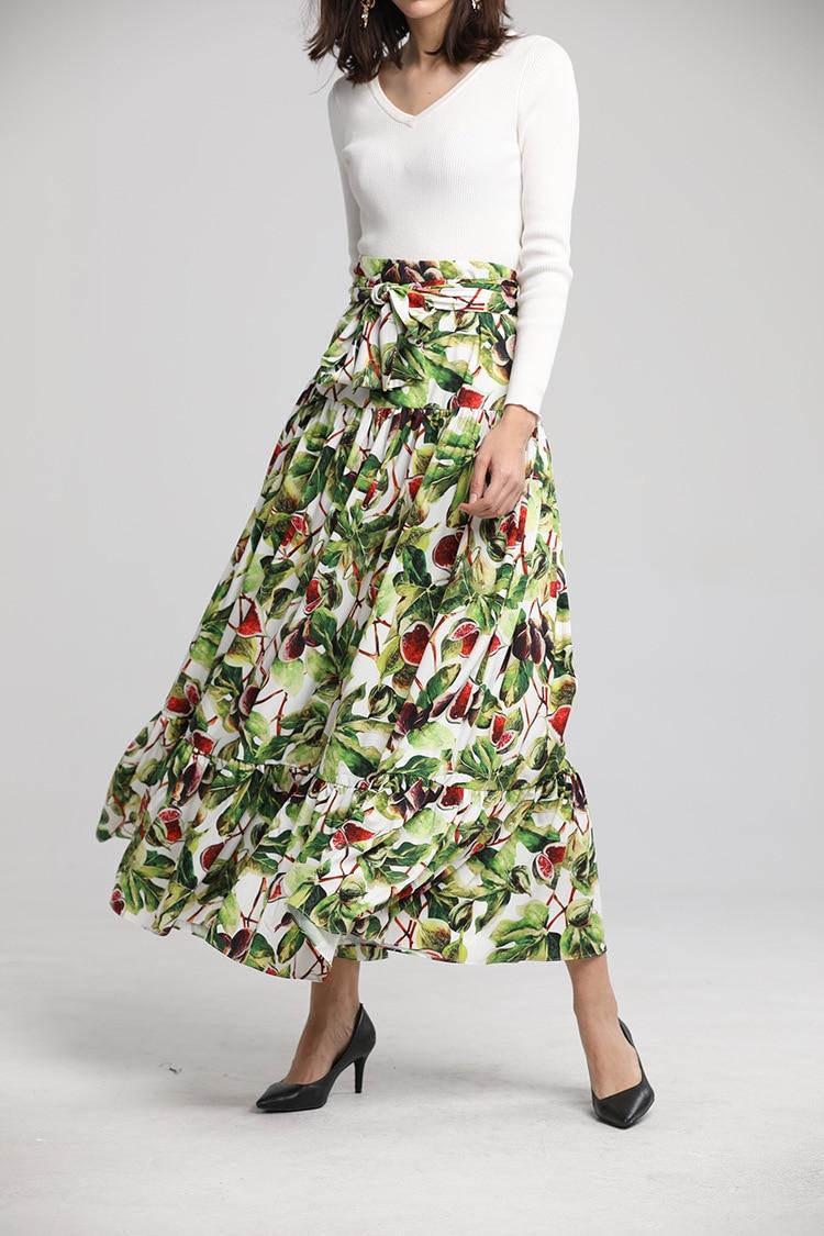 Chic women elegant pleated skirts New 2019 spring runway high waist fruit print Skirt D791