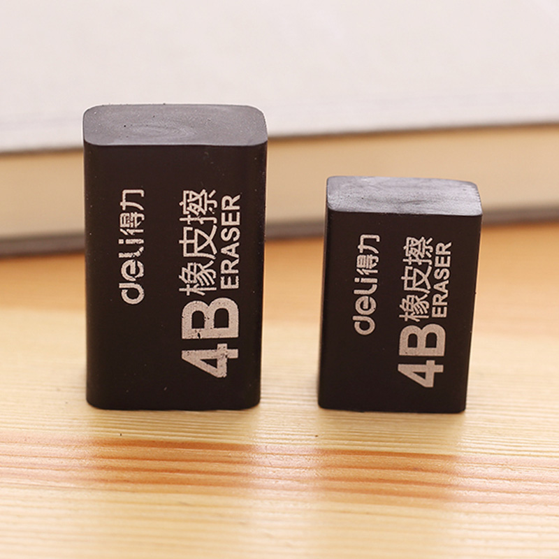4Pcs Soft 4B Black Color Erasers Pencil Eraser School Art Class Office Draw Sketch Correction Stationery Supplies Deli 7545