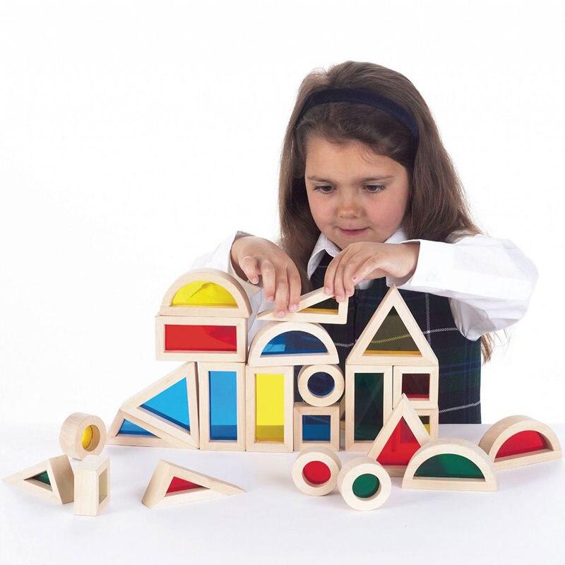 [Drôle] 24 pièces/ensemble en bois arc-en-ciel acrylique blocs jouets enfants apprentissage couleur géométrique assemblage blocs Jenga jeu enfants cadeau