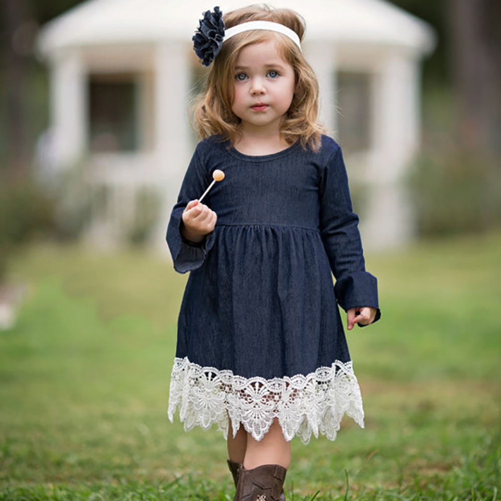 Dresses Well-Educated 2018 New Toddler Infant Baby Girls Denim Flare Sleeve Dress Lace Splice Sundress Clothes Cute Fashion Childrens 30 And To Have A Long Life. Girls' Clothing
