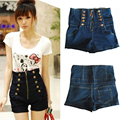 2017 Summer New Korean Style Fashion Women High Waist Vintage Buttons Short Jeans  Female Ladies Casual Fashion Denim Hot Shorts