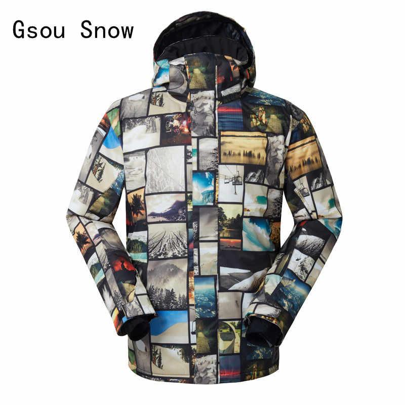 Человек лыжная куртка Gsou Снег ветрозащитный Водонепроницаемый уличная  спортивная одежда отдых езда Лыжный Спорт Супер теплое 5d336cb9d46