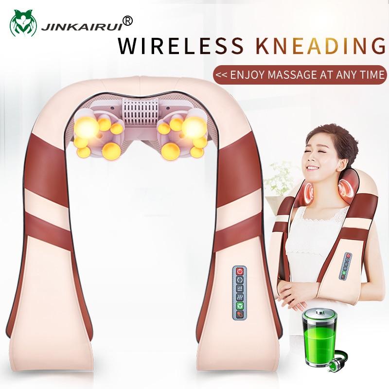 JinKaiRui Cordless Rechargeable Neck Back Shiatsu Massager 3D Deep Kneading Portable Full Body Massagem with Heat Relieve Pain