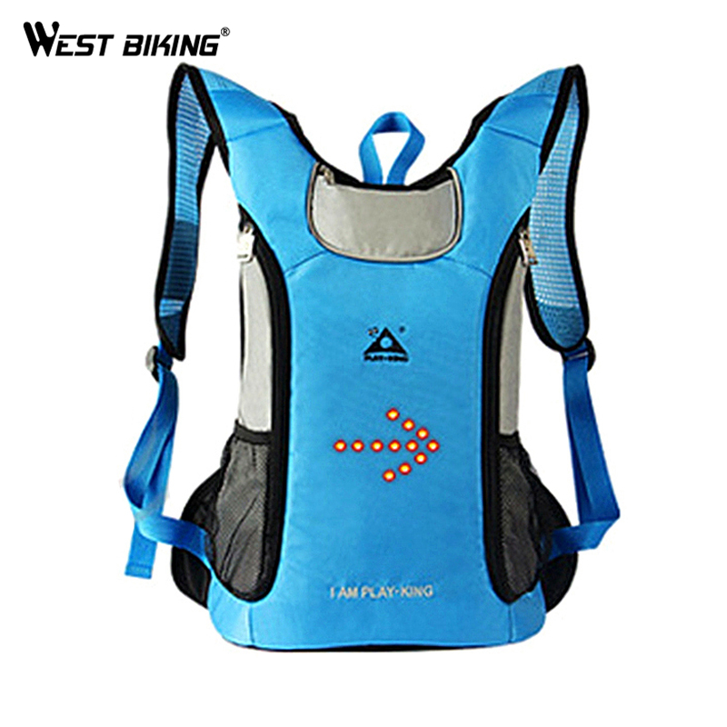 WEST BIKING Wireles Remote Control Intelligent Warning Lamp Bike Riding Bag Backpack Cycling Breathable Safety Alert Bicycle Bag