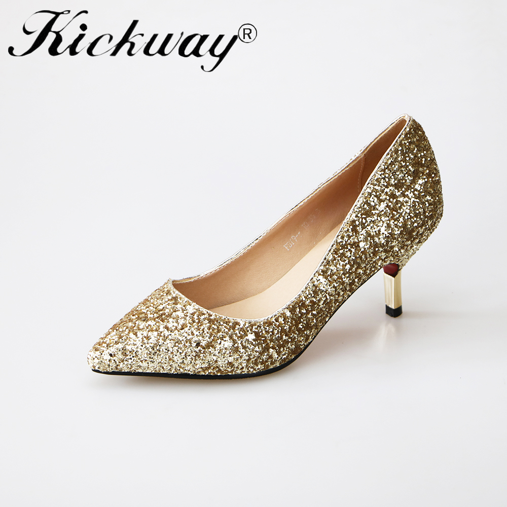 Kickway 2017 sexy womens black high heel shoes pointed toe gold silver party wedding shoes stiletto heels shiny shoes womenKickway 2017 sexy womens black high heel shoes pointed toe gold silver party wedding shoes stiletto heels shiny shoes women