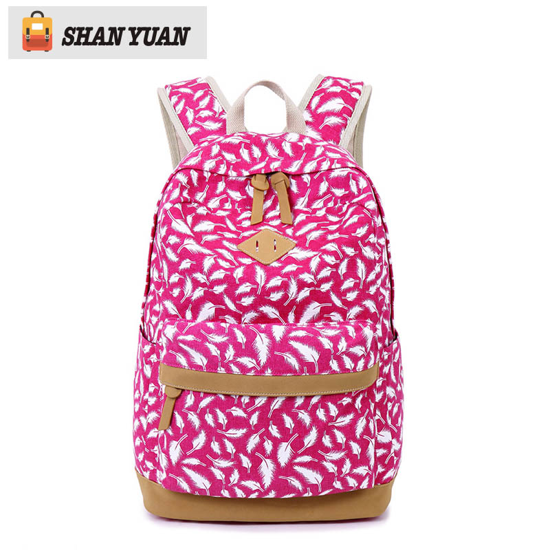Brand High Quality Canvas Bag Backpack School for Teenager Girl Laptop Bag Feather Printing Mochila Rucksack